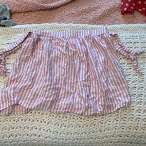 Pink and white striped strapless top